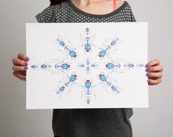 Insect print. Fine art watercolour print- Geometric Art Print- Fly Print - Bug Print - Insect Art- Pen and ink - watercolour Art