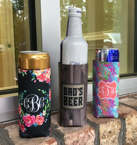 Thin Can Cooler Thin Bottle Sleeve Personalized Beverage Insulators for Thin Cans Michelob Ultra Red Bull Monogrammed Beer Hugger Beer Cozy