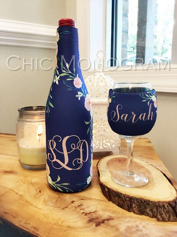 Wine Gift Set Wine Lovers Gift Elegant Floral Monogrammed Wine Bottle & Wine Glass Insulator Wine Bottle Wine Glass Hugger Christmas Gift
