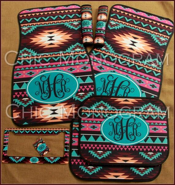 Aztec Tribal Car Accessories Set Car Mats License Plate Frame Key Chain Seat Belt Covers Monogrammed Personalized Custom Aztec Car Set