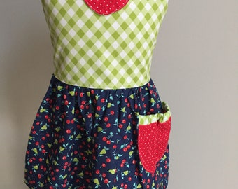 Girls apron, cherries and pears, girls size 3T and 5, ready to ship!  Holiday gift idea!
