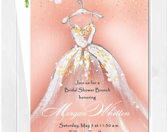 Bridal Shower Invitation | Wedding Dress Invitation | Wedding Shower Invitation | Faux Glitter | Bridesmaids Lunch | Invitation | Printable