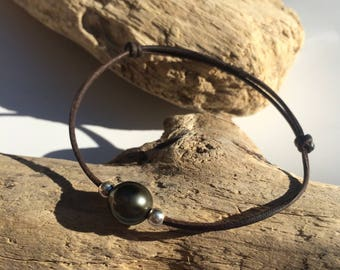 Tahitian pearl, silver, women or men adjustable bracelet, pearl on leather