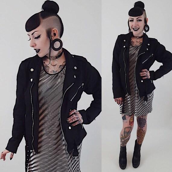 Vintage Black Biker Zip Up Jacket - Small Medium 80's Black Men's Fall Winter Coat -Punk Grunge Hipster Fashion - Silver Accent Buckle Coat