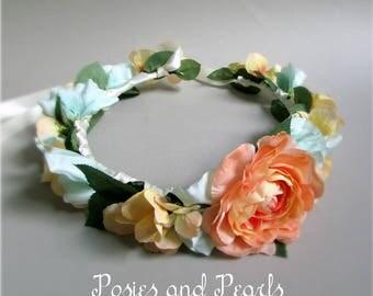 "Peach and Light Blue Flower Crown, Camellia, Sweet Pea, Hydrangea, Greenery, Bridal Crown, Bridesmaid Crown, ""Emily"""