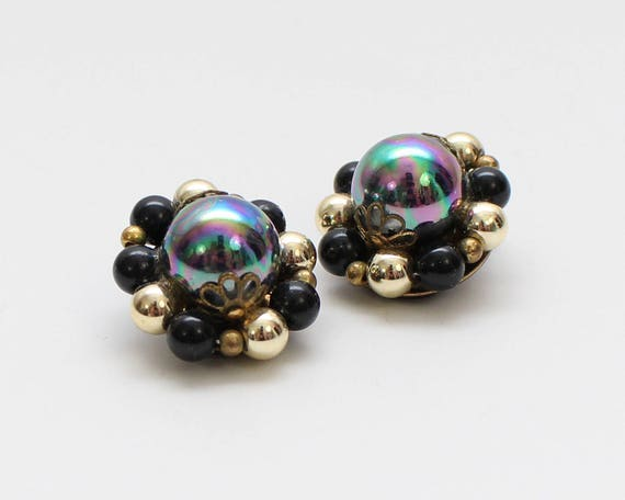 Black and Gold Bead Cluster Earrings - Vintage 1960s Carnival Bead Clip Ons