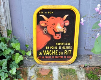 French Bar Serving Tray, Vieille Publicité/La Vache Qui Rit, Created By Benjamin Rabier, Bistro Drinks Tray, Gruyère Cheese Publicity