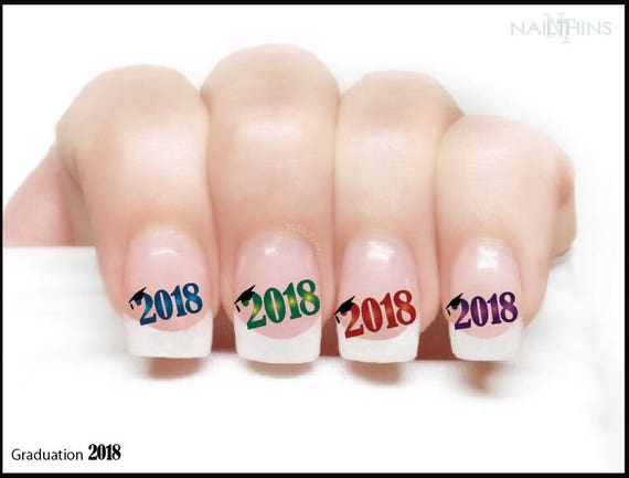 2018 or 2019 graduation nail decals graduation cap nail art like this item prinsesfo Image collections