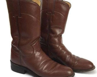 Women's Justin Brown Roper Western Cowgirl Boots L 3802 Size 5 1/2 B