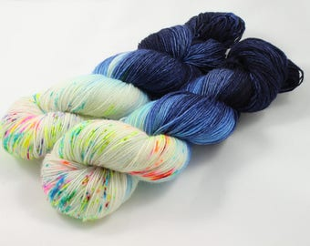 Killer Specks From Outer Space, sock yarn, speckled yarn, hand dyed yarn, speckled sock yarn, colorful yarn, indie dyed yarn