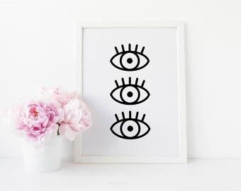 Eye Art Print - Printable Wall Art - Scandinavian Poster - Instant Download Printable Art - Minimalist Art - Modern Art Print - Black White