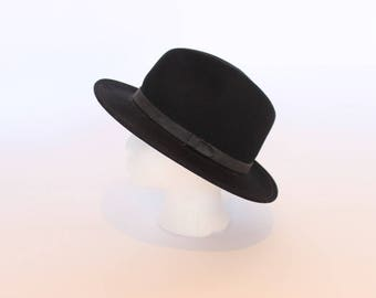 Vintage Fedora Hat Black Wool Hat Cowboy Hat Women's Men's Small Hat Bowler Hat
