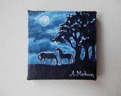 "Original painting: ""Restless"",  two ponies/horses in the moonlight, mini canvas"