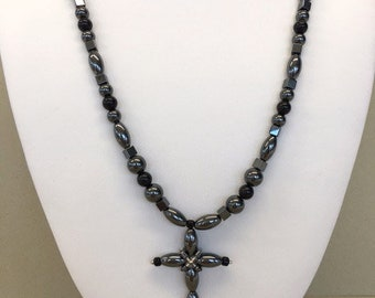 Black Cross Necklace Black Beaded Necklace Gray Cross Necklace Black Statement Jewelry Metal Beads Glossy Black Cross Pendant