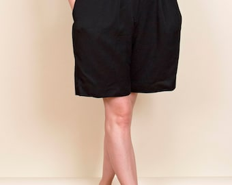 vintage 80s high waist black trouser shorts , pleated black shorts