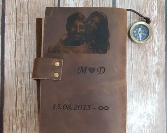 personalized leather journal, engraved leather journal, genuine leather, leather notebook, diary, leather journal with photo locket