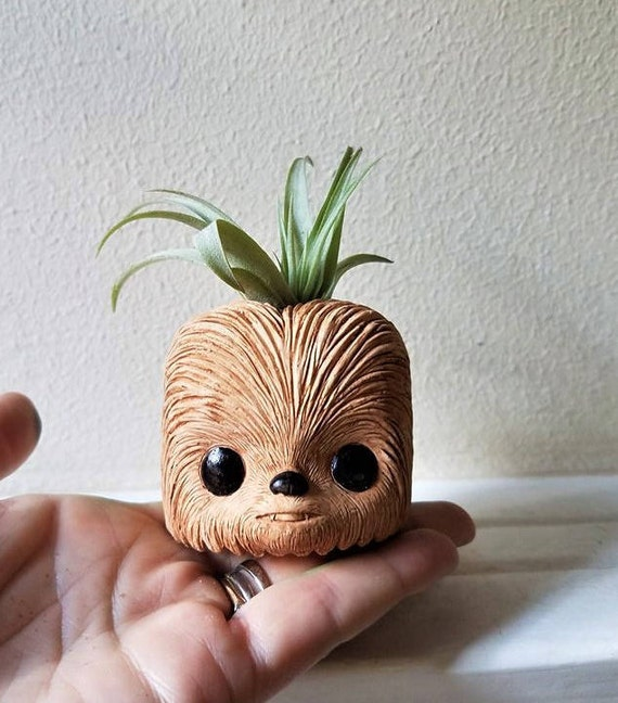 Chewbacca inspired planter, Chewbacca gift, star wars air plant holder, geeky gift, air plant gift set