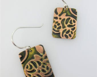 Rose Pattern Earring - Zentangle Inspired Earrings - Embossed Earrings - Colorful Jewelry - Inexpensive Jewelry - Gift