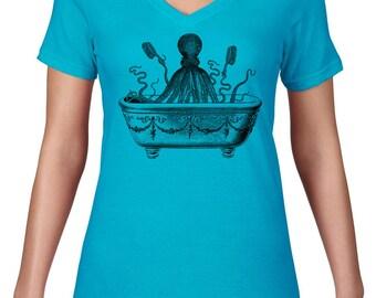 Womens V Neck, Octopus T Shirt, Funny Tshirt, Octopus Taking A Bath, Ocean Animal Tee, VNeck, Ringspun Cotton, Semi Sheer