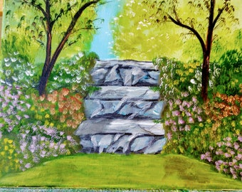 Tuscany steps, landscape and floral acrylic painting 11 x 24,
