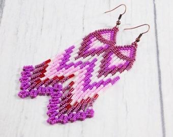 Pink earrings Coral earrings Waterfall Earrings pastel earrings wedding earrings prom earrings red earrings formal earrings long earrings