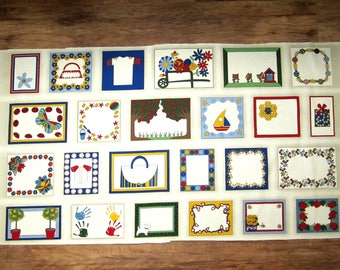 Fabric QUILT LABELS Chasing Butterflies RJR Panel of 24 Labels