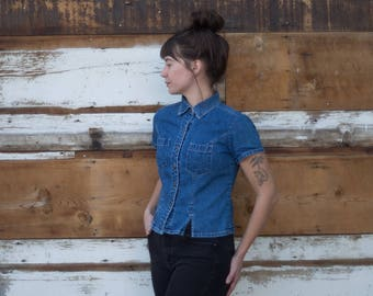 Flattering Denim Top with Floral Buttons
