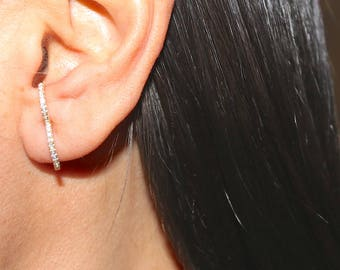 TWO FINISHES Vermeil Double Suspender Hoop Earrings