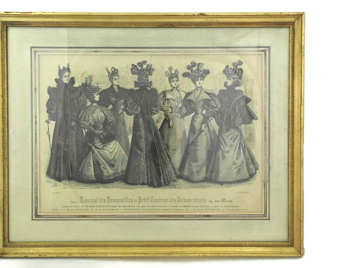 Antique Victorian Fashion Print in Gold Frame.