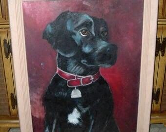 Dog Portrait Labrador Painting Mid Century Oil Canvas On Board