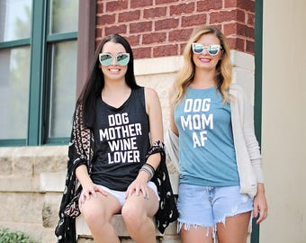 dog mother wine lover muscle tank