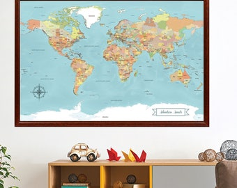SALE! World Map push pin, Paper anniversary gift idea, Push Pin Travel Map, 1st anniversary gift, wedding Guest Book alternative, 24x36 inch