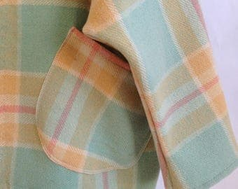 ON SALE Woollen Windcheater Womens Cardigan Ketigan in lemon and aqua check Wool Long Style Dipped Hem large long size