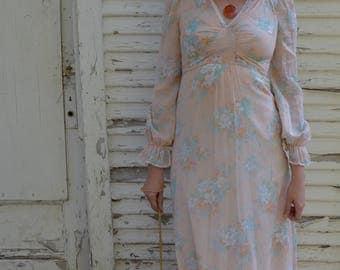 Vintage Jody T Peach Floral Prairie Dress 1970s Long Hippy Festival Boho Wedding; FREE Shipping U.S.A.