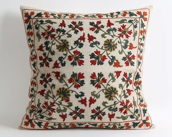 Suzani Pillow Cover - Hand Embroidered Vintage Uzbek Suzani Pillow Cover - Decorative Pillows - Throw Pillow - Accent Pillow - Home Decor