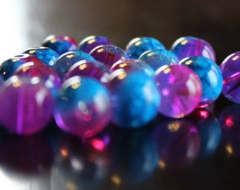 20 glass beads, 10 mm, round and smooth, transparent baking painted, hole 1 mm, aqua, pink, and purple