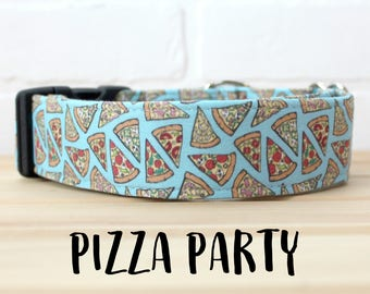 Pizza Dog Collar for Foodie in Blue for Boy/Girl Dog, Can be made in Buckle or Martingale Collar - Please Read Items Details Before Ordering