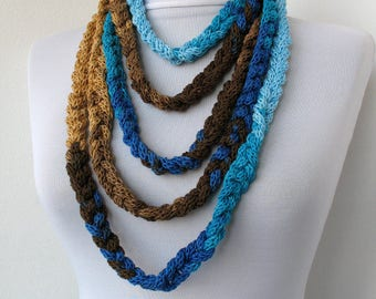 Knitted jewelry, Knit Scarflette Necklace,Braided Necklace, in caramel, blue and brown tones E239