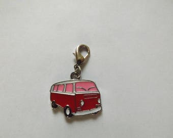 Charm's van red and pink snap charm