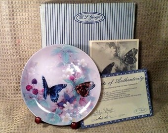 Red Spotted Purples Butterfly Collectible Plate - Original Box, Certificate Authenticity - 3rd Issue, Gossamer Wings Collection, Lena Liu
