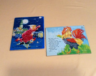 Set of 2 Vintage Nursery Rhyme Frame Tray Puzzles - Sifo Co. 1965 Rooster, 1957 Wee Willie Winkie - Cardboard Children's Learning Puzzles