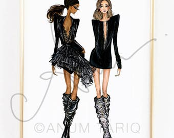 Fashion Illustration Print, YSL Boots