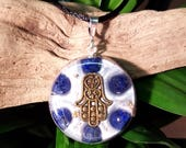 Lapis Lazuli Orgone Pendant - Hand of Fatima/ Hamsa - Third Eye Throat Chakra Healing Lightworker Jewellery - Medium