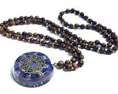 Orgone Mala Necklace - 'Sacred Intentions' - Lapis Lazuli - 108 Prayer Beads - Boho Necklace, Spiritual Gift - Mantra Meditation - Large