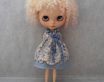 Blythe Dress Vintage Inspired Ditsy Flower Scalloped Edge Blythe Doll Clothes Outfit Licca Pure Neemo S