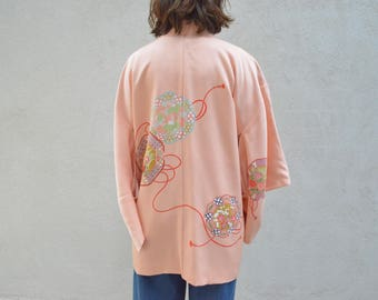 Vintage haori kimono robe for bridal party / wedding with amazing pattern and plum blossom