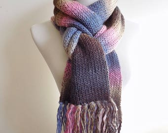 Double Knit Scarf with Fringe - Pink Blue and Brown Winter Scarf - Warm Wool Blend Women's Scarf - Knitted Scarf - Fringed Scarf