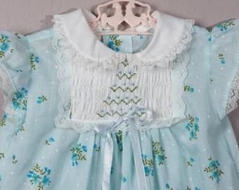Vintage Polly Flinders Dress, 1970's Polly Flinders Smocked Maxi Dress