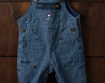 Vintage Peanuts Snoopy Overalls, 6mo Camp Snoopy Denim Overalls