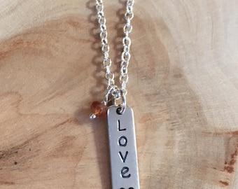 November Necklace, Topaz Necklace, Handstamped Necklace, Personalized Necklace, Sterling Silver Necklace, Gemstone Necklace, Gemstone